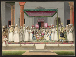 Nawab Mubarak al-Daula of Murshidabad (1770-93) enthroned in durbar, with the British Resident, Sir John Hadley D'Oyly, and the Nawab's son, Babur 'Ali
